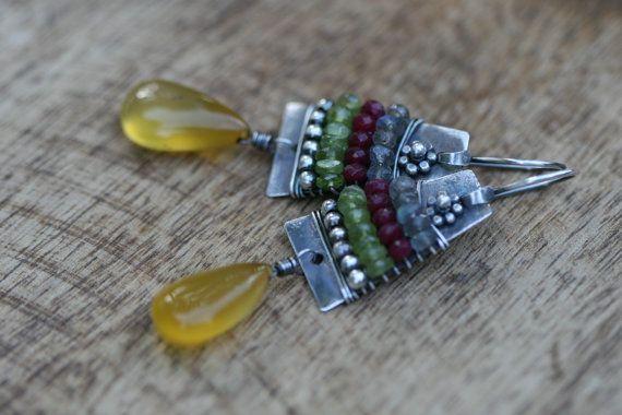 Sterling Silver *Alegria, Alegria* Series earrings artisan metalwork, honey yellow Calcedony, eclectic, folk gipsy ethnic, festive, bohemian
