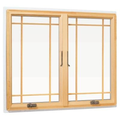 Andersen 48 In X 48 In 400 Series Casement Wood Window With White Exterior And Prairie Grilles 9117172 The Home Depot Wood Windows Wood Windows Exterior Casement