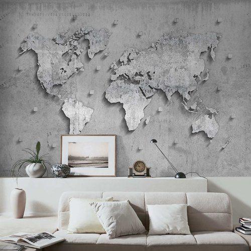 East Urban Home Concrete World Map Semi Gloss Wallpaper Roll