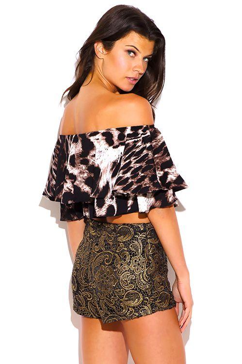 9b28ce369fa Cute cheap leopard animal print ruffle off shoulder crop top | Store ...
