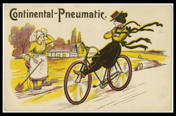 Illustrious ladies ride Continental tyres  #cyclingposters  @brooksengland  via @HenriHelvetica