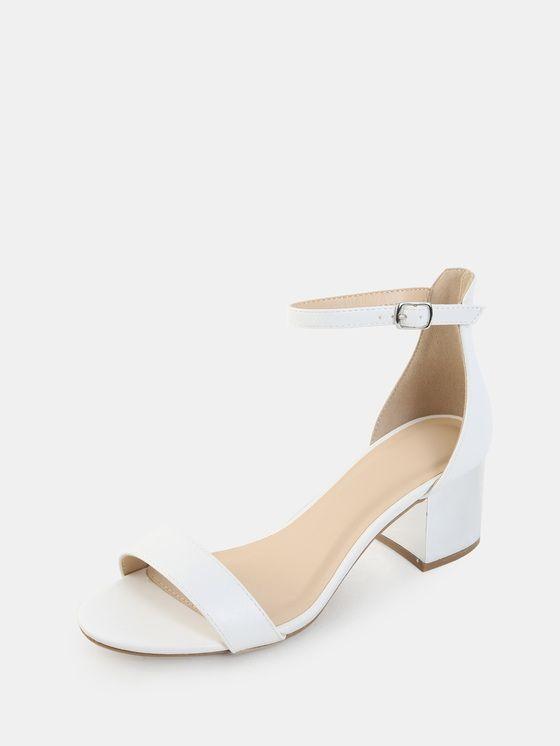 Open Toe Metallic Block Heels WHITE