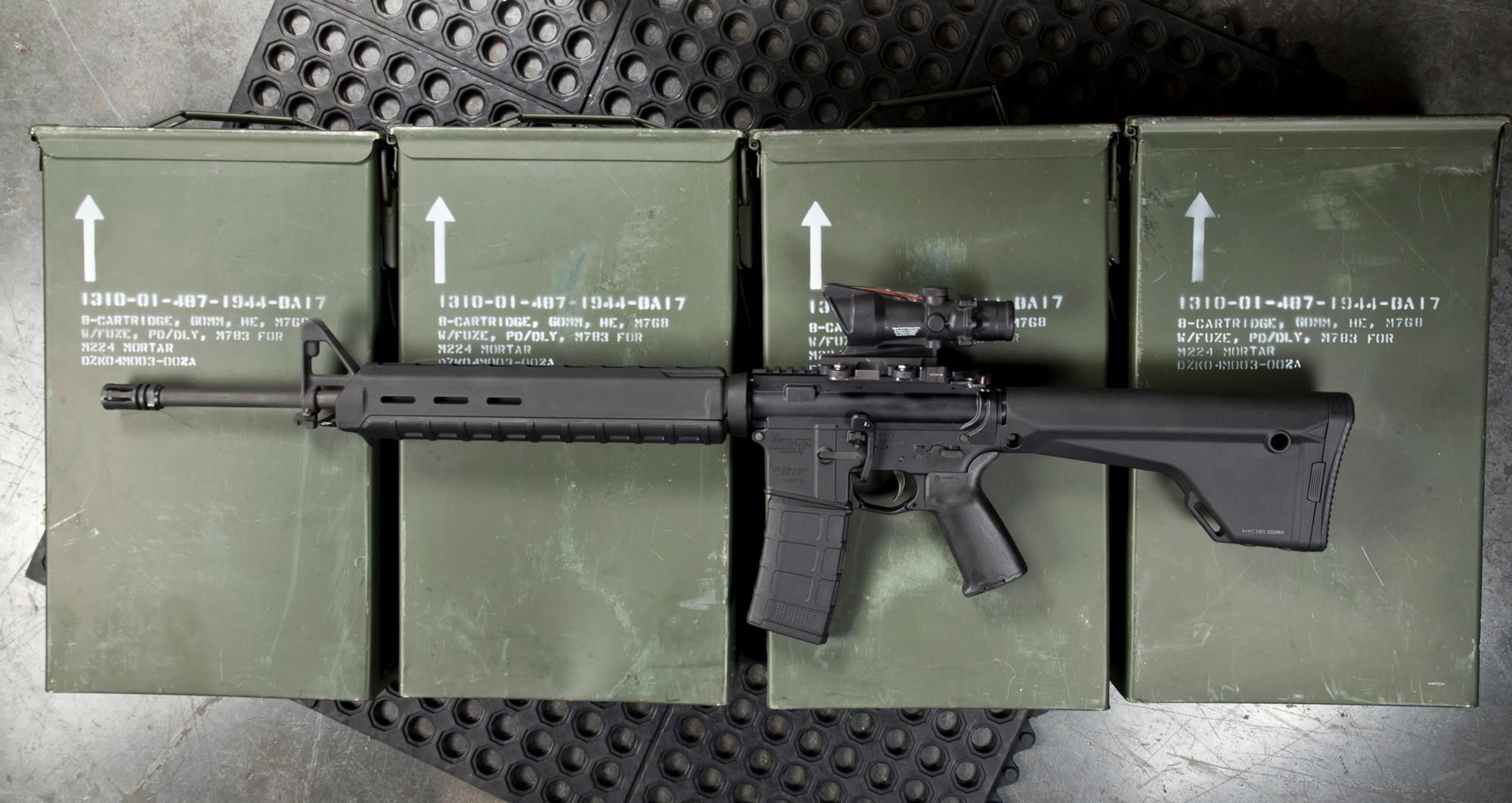 Magpul MOE Fixed Rifle Stock On A M16 Configured AR15 With Magpul Furniture.