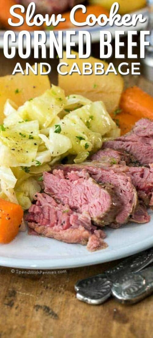 Corned Beef and Cabbage Slow Cooker Recipe (Video) - Spend With Pennies