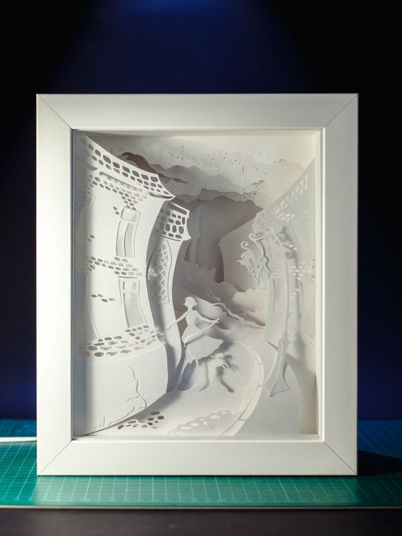 Lady with a dog Shadow box paper cut Handmade; paper diorama in a ...