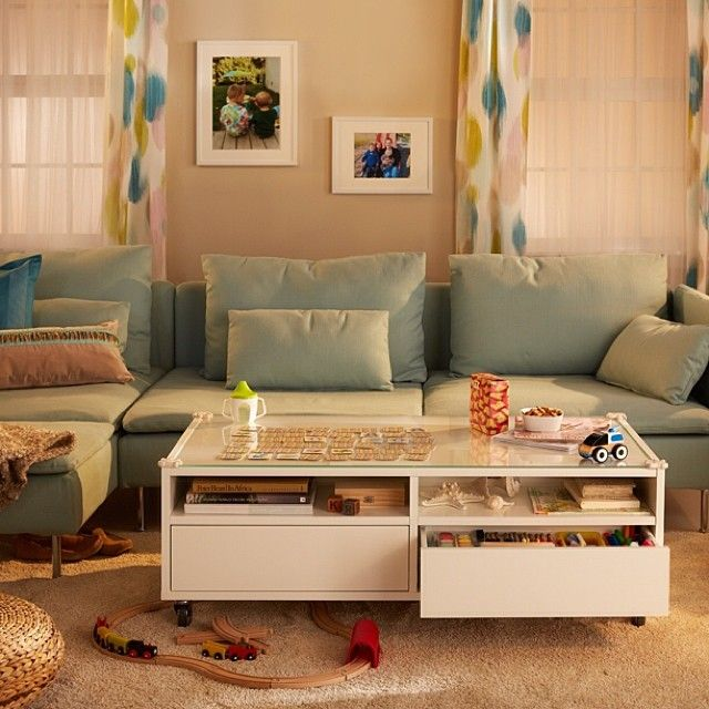 ikea living room with classy toy storage