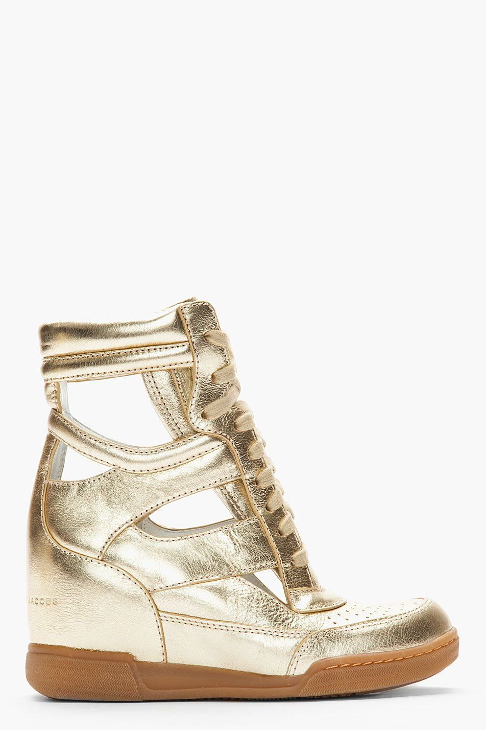 5516d2c45aaa MARC BY MARC JACOBS Metallic Gold Leather Cut-Out Sneaker Wedges ...