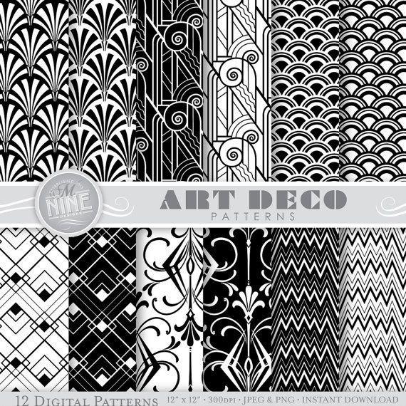 Art deco digital paper black printable patterns pattern prints instant download retro backgrounds print