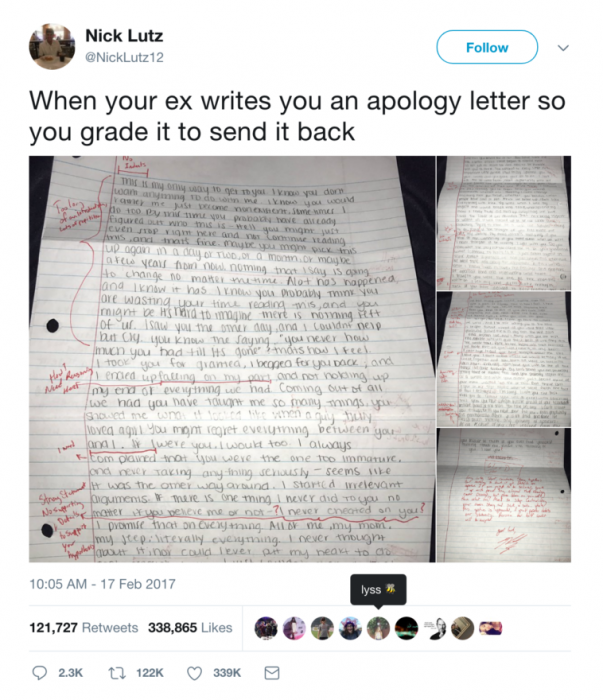 Guy Who Went Viral For Grading His Exs Apology Letter Got Charged