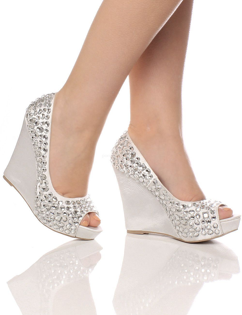 e1cdd47465 WOMENS WEDDING PLATFORM WEDGE LADIES BRIDAL SANDALS EVENING PROM SHOES SIZE Silver  Wedges