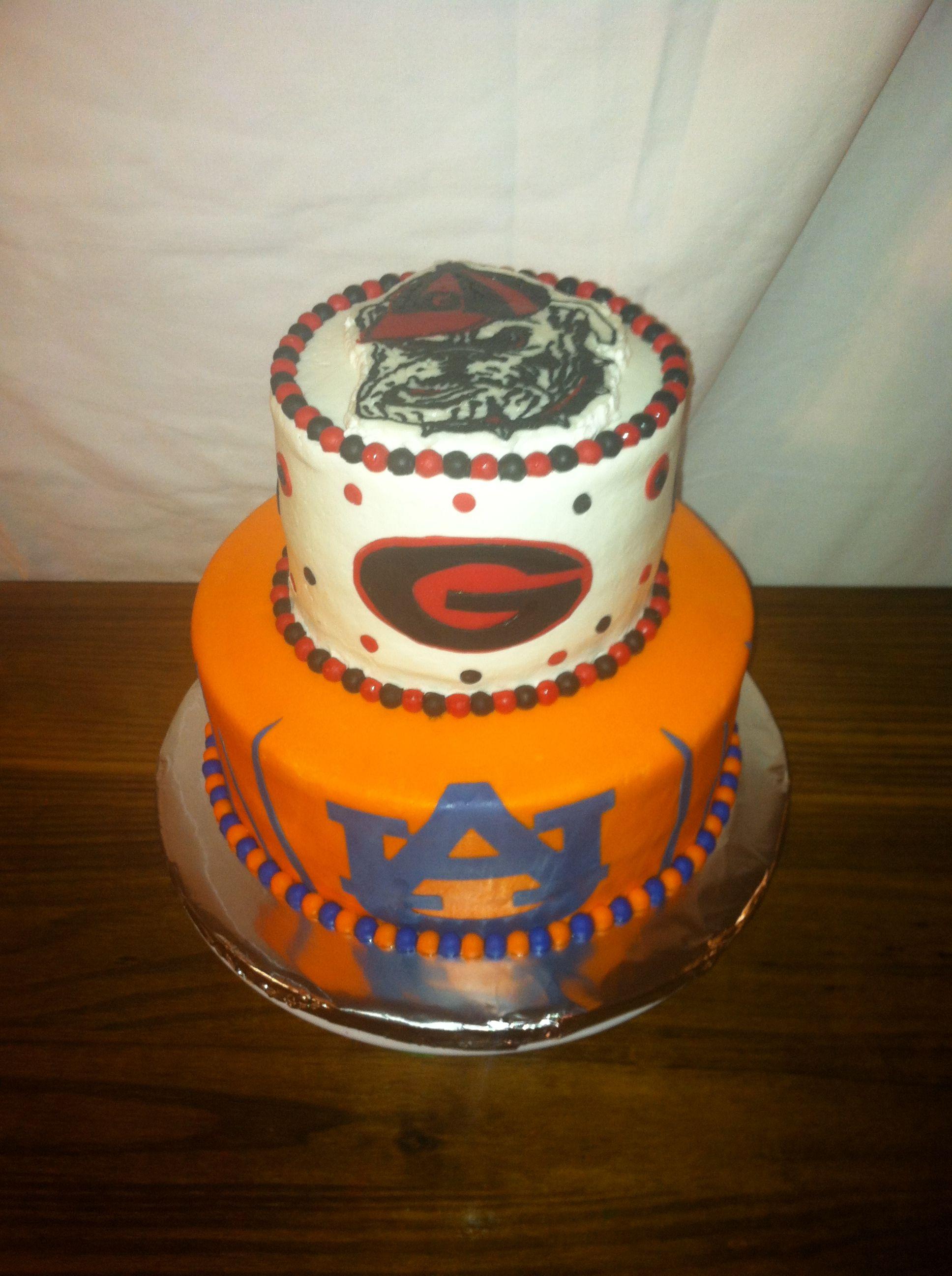 Georgia Bulldog & Auburn Tiger cake | Tiger cake, Auburn ...
