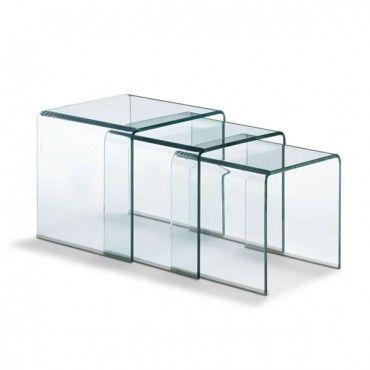 Modern Glass Nesting Table Explorer Glass Nesting Tables