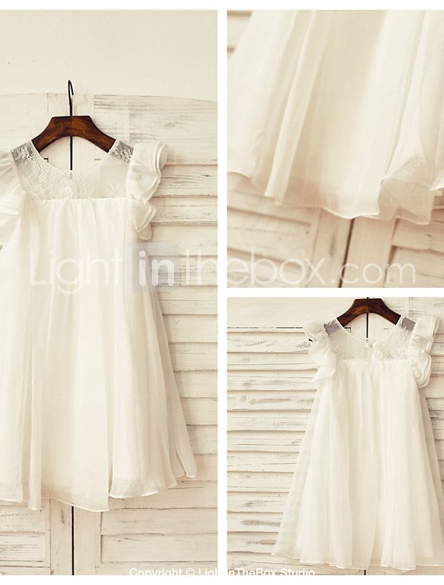 f08bde7c8 Sheath / Column Knee-length Flower Girl Dress - Chiffon / Lace Short Sleeve  Scoop with 2017 - $53.99