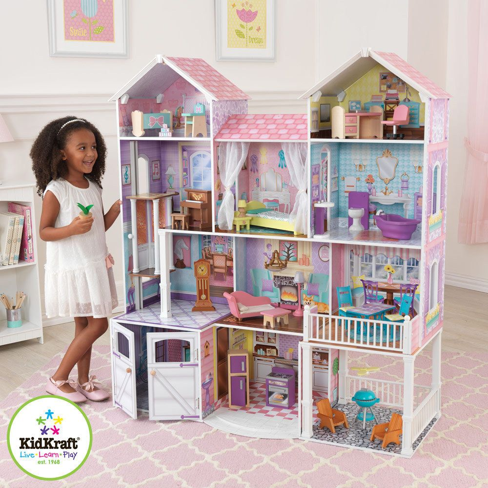 barbie doll house furniture. Kidkraft Country Estate Wooden Kids Dolls House Furniture Fits Barbie Dollhouse Doll S