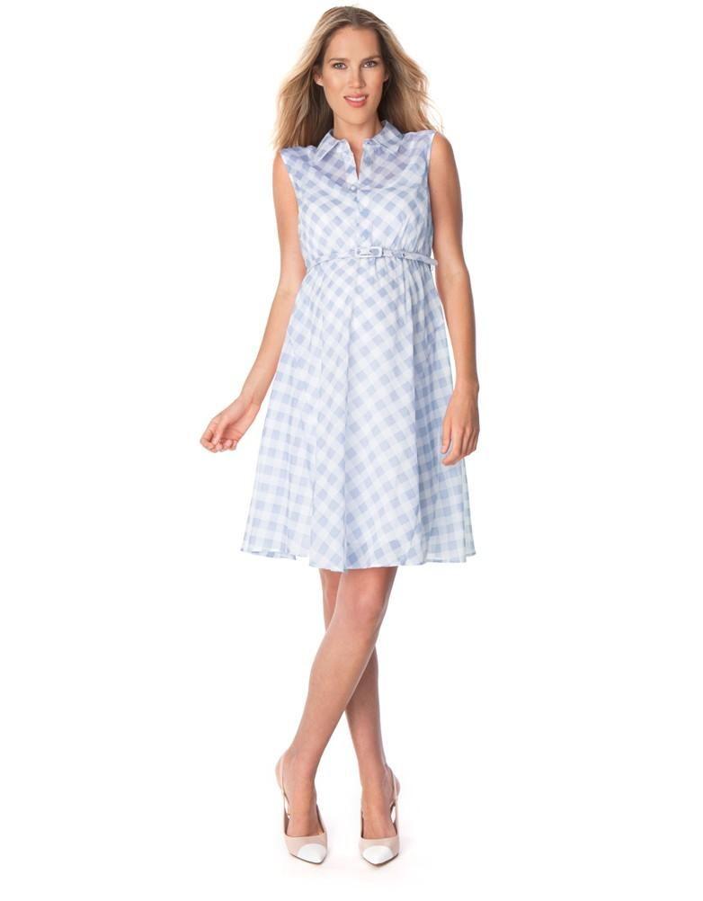 blue gingham cotton maternity dress