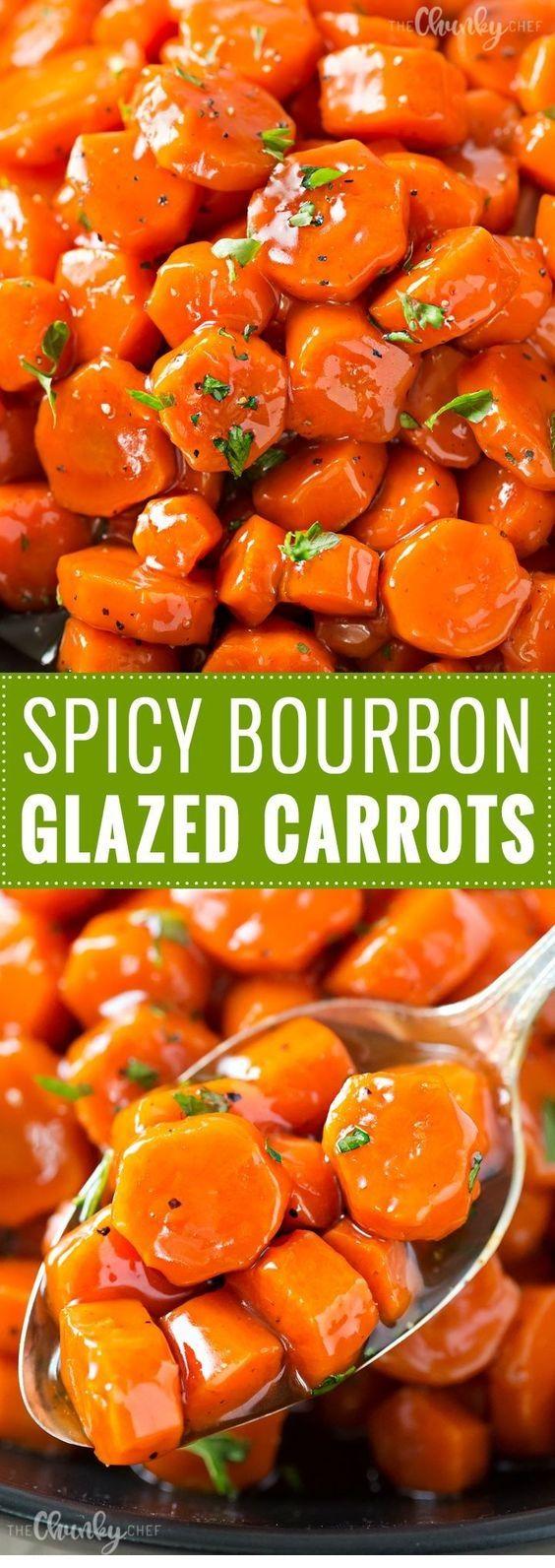 Spicy Bourbon Glazed Carrots   #thanksgivingrecipes
