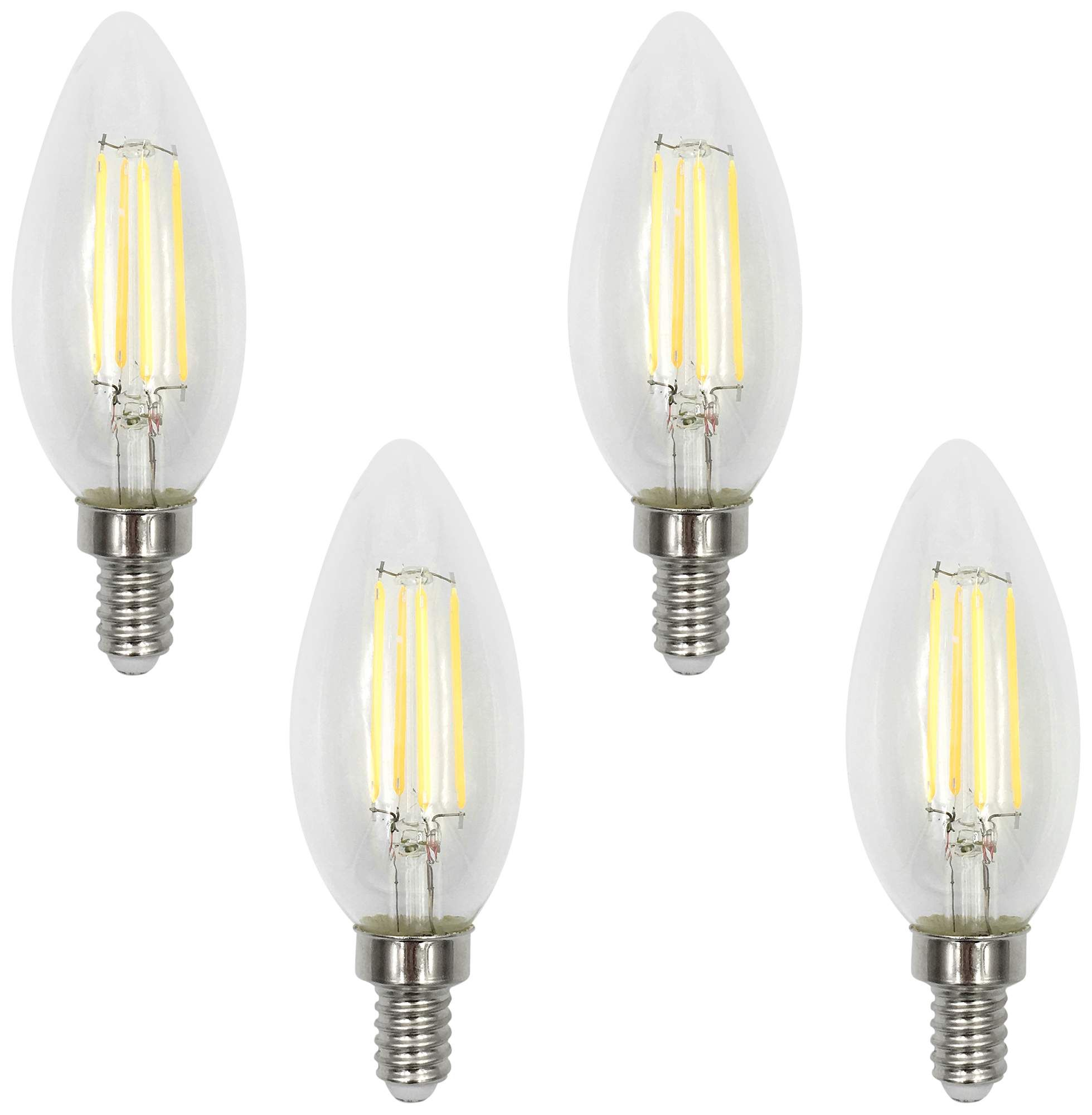 60w Equivalent Torpedo 6w Led Filament Candelabra 4 Pack Light Bulb Lamp Bulb