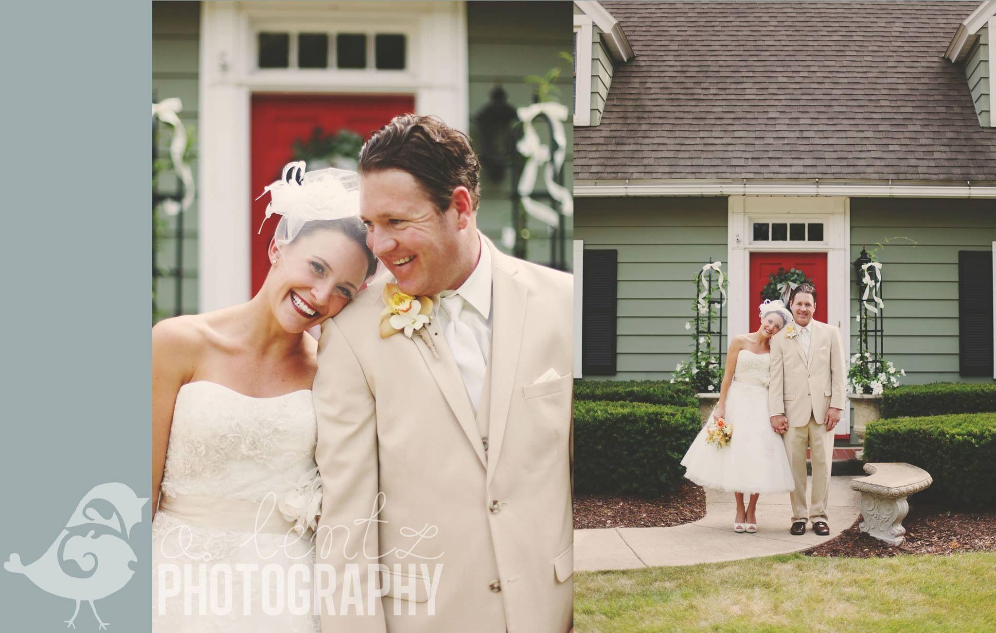 T-length wedding dress. Blusher. True love. Outdoor wedding ceremony.