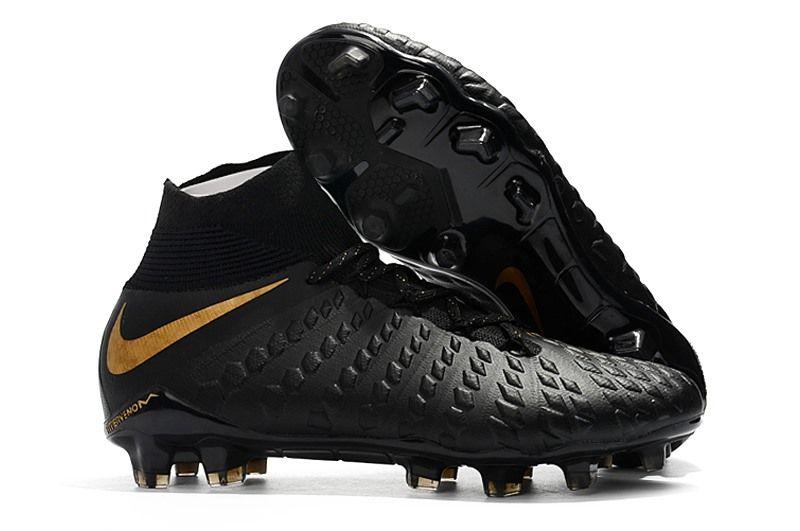 Nike Hypervenom Phantom Iii Df Fg Cleats Black Gold Soccer Boots Soccer Cleats Nike Black Nikes