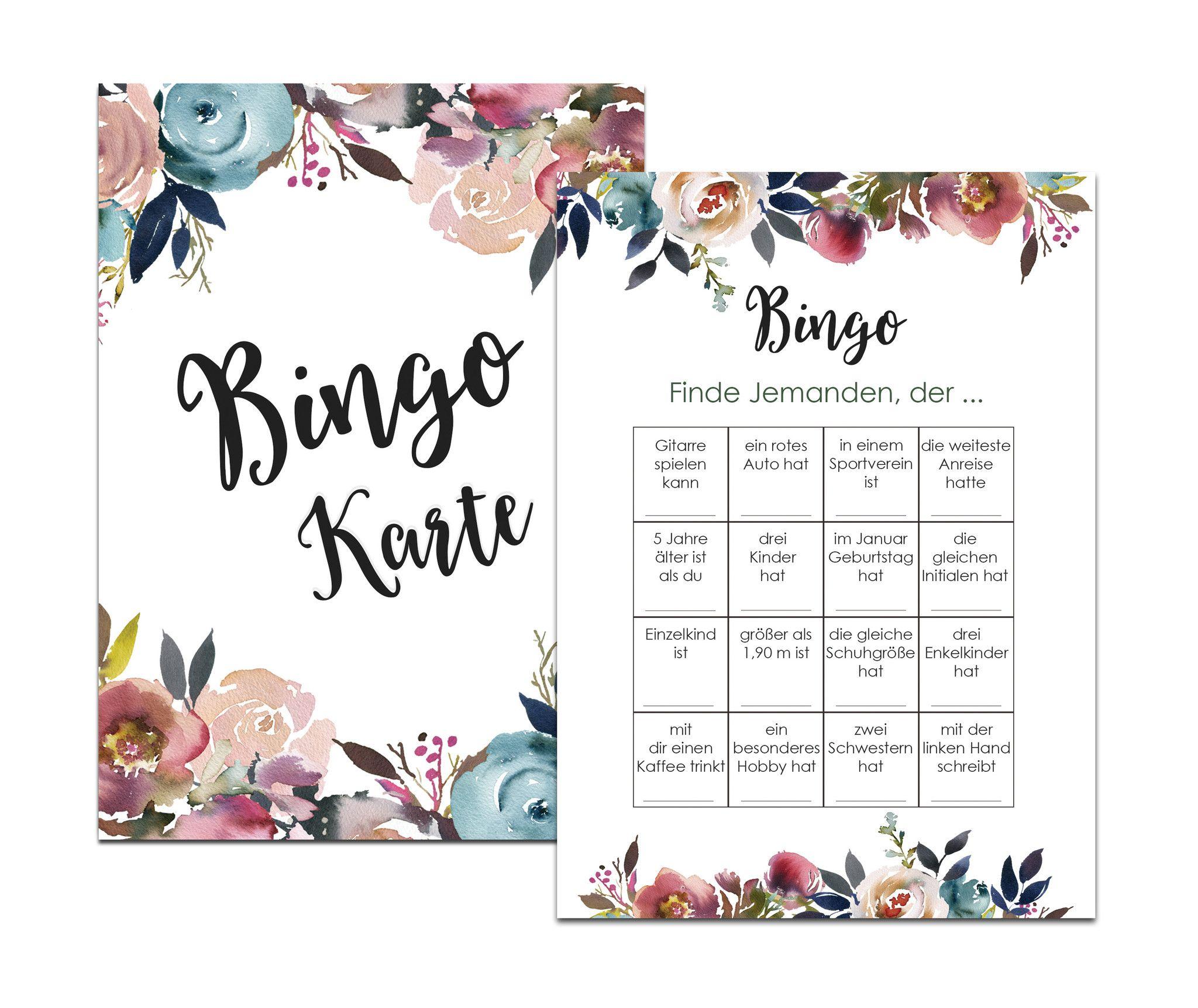 Hochzeitsspiel, Hochzeits-Bingo, Party-Bingo   – Hochzeit