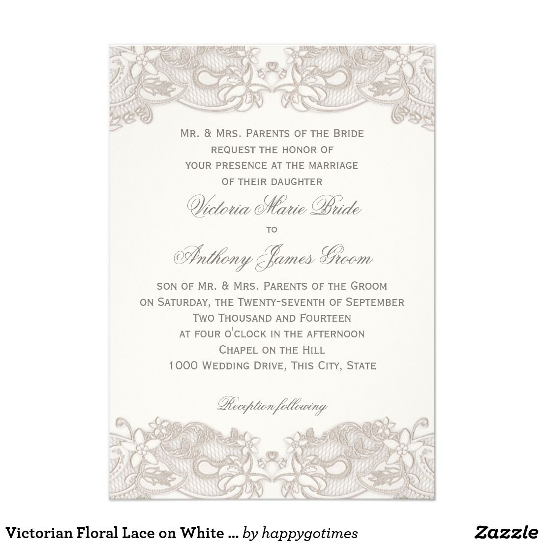 Victorian Floral Lace on White Design Wedding Card | Country ...