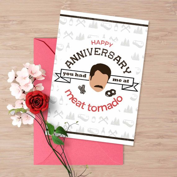 Ron Swanson Love Card Printable Anniversary Card You Had Me At