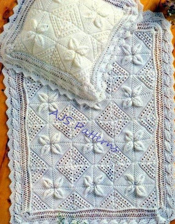 PDF Knitting Pattern for a Baby Blanket & Pillowcase - Raised Leaf ...