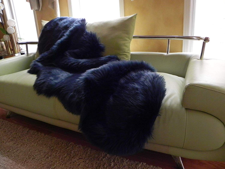 Sheepskin Rug or Throw, Navy Blue Fluffy for Living Room