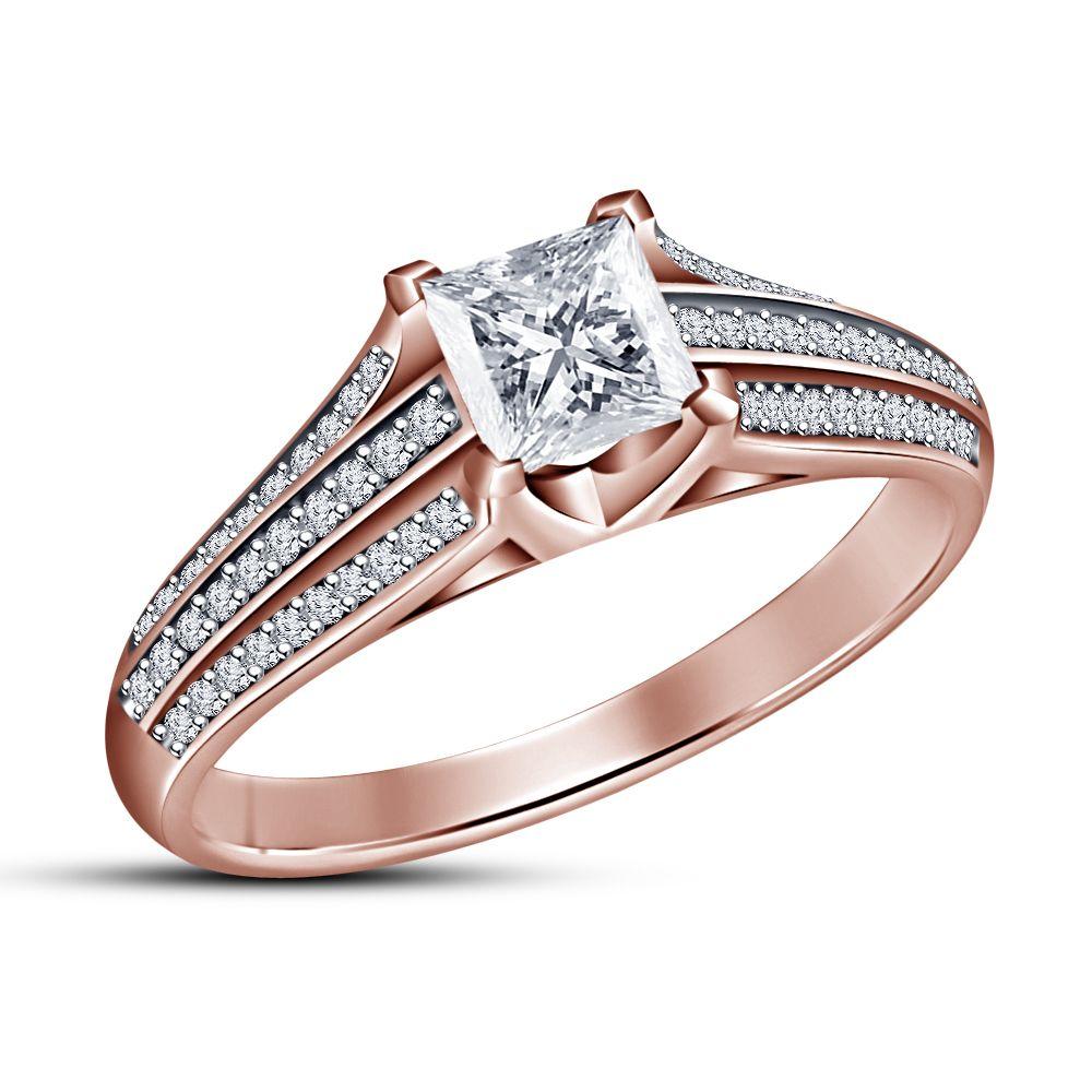 Princess cut white sim diamond engagement ring k rose gold finish