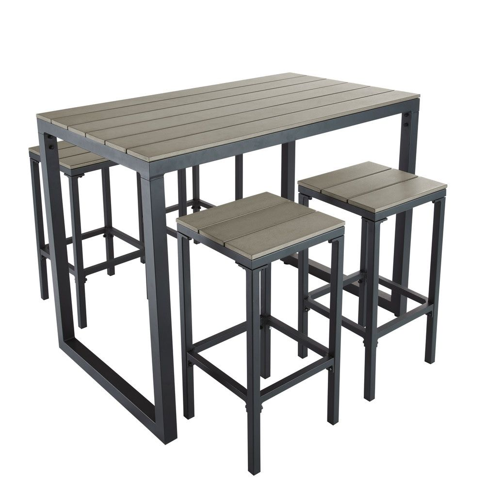 Aluminium Garden Bar Table with 4 Stools L128 | Garden room | High ...