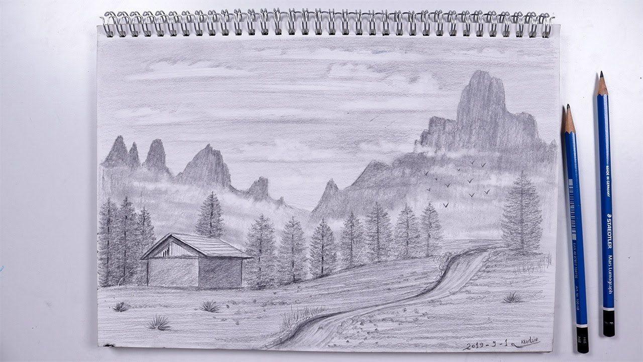 كيفية رسم منظر طبيعي بالرصاص فيديو مسرع رسم طبيعة Landscape Drawings Draw