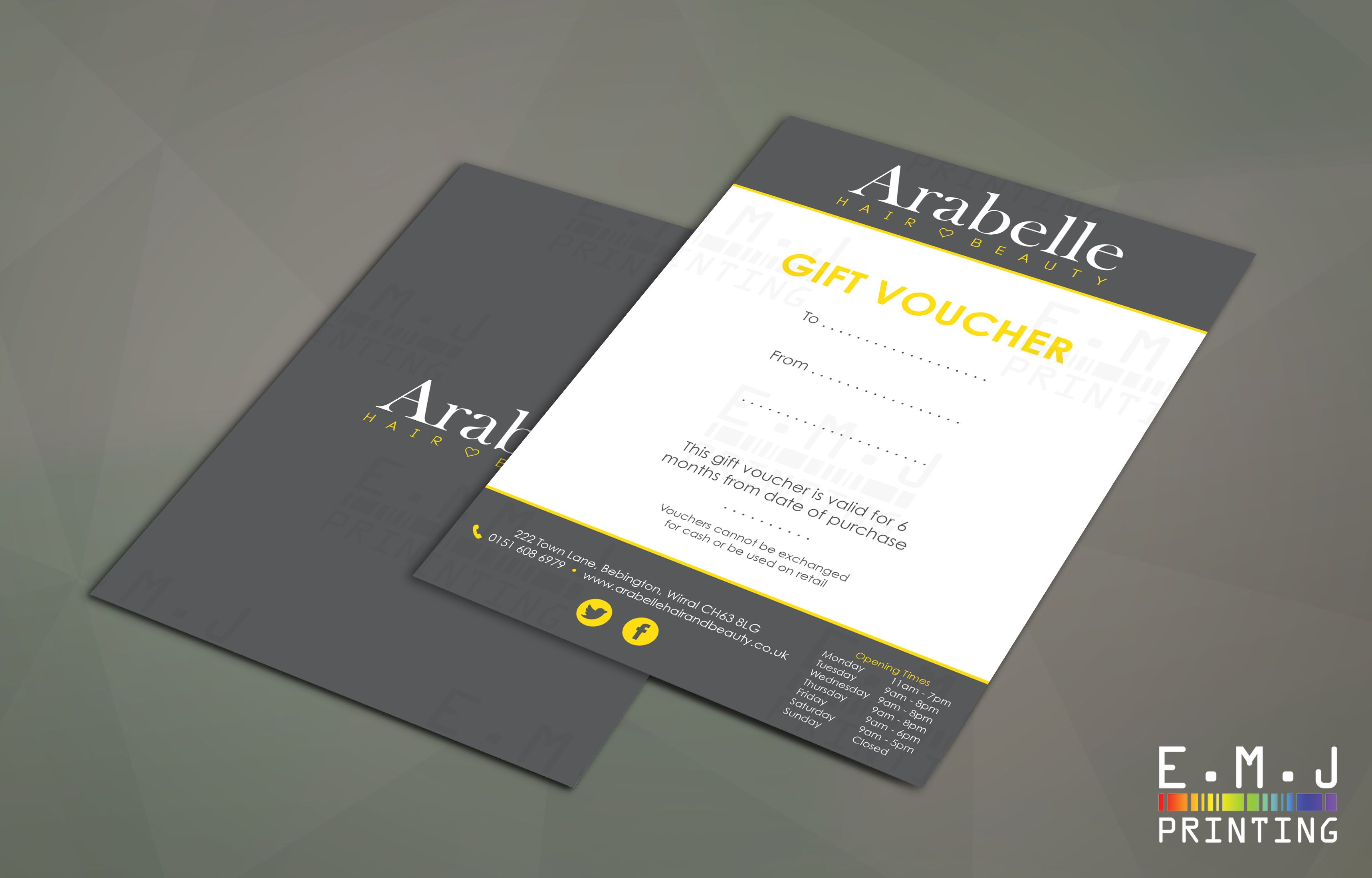 an a5 gift voucher designed for arabelle hair and beauty and printed