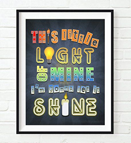 Christian nursery kids room children wall art decor This Little Light of Mine I'm Gonna Let it Shine Matthew 5:16 Vintage verse scripture ART PRINT, UNFRAMED Christian dictionary Children nursery wall & home decor poster, Christmas gift #ad