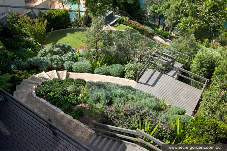 Garden design seaforth secret garden sydney great for Small sloping garden designs