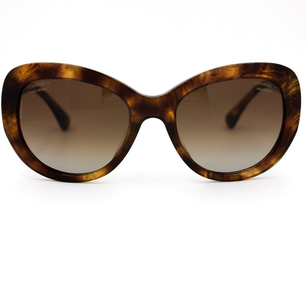 0285bdbdd4e CHANEL Sunglasses Brown Gold Butterfly Frame with Brown Polarized Lenses  5346A  CHANEL  Butterfly