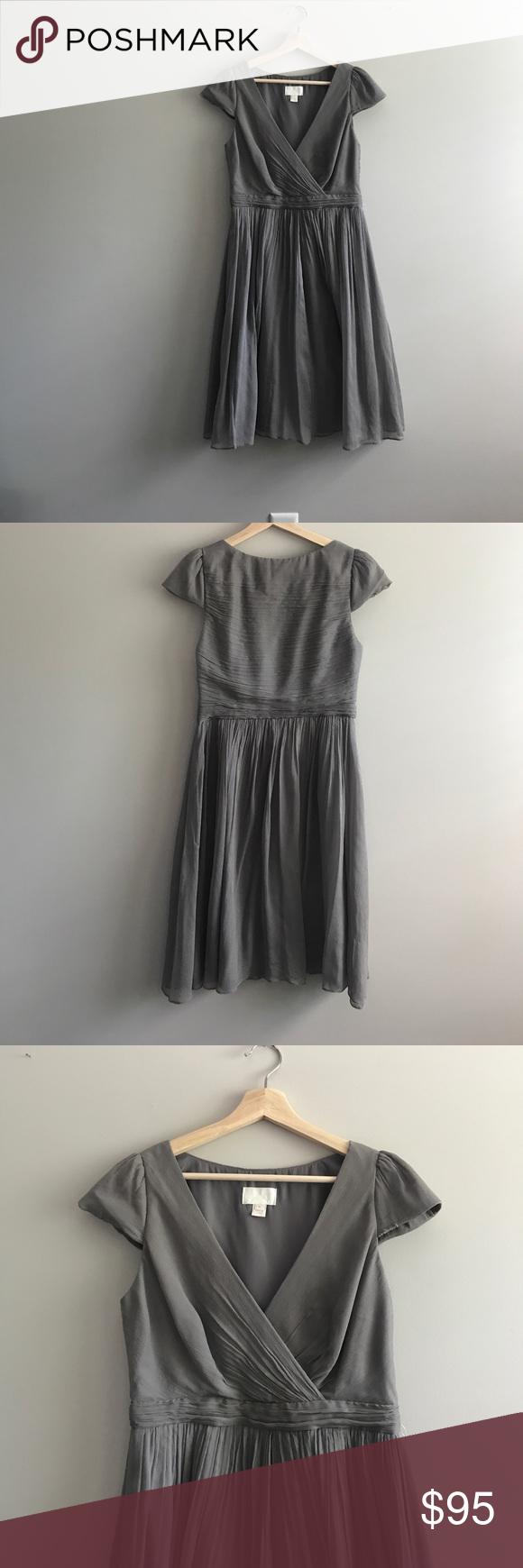 Silk j crew bridesmaidus dress silk shell and fully lined gray