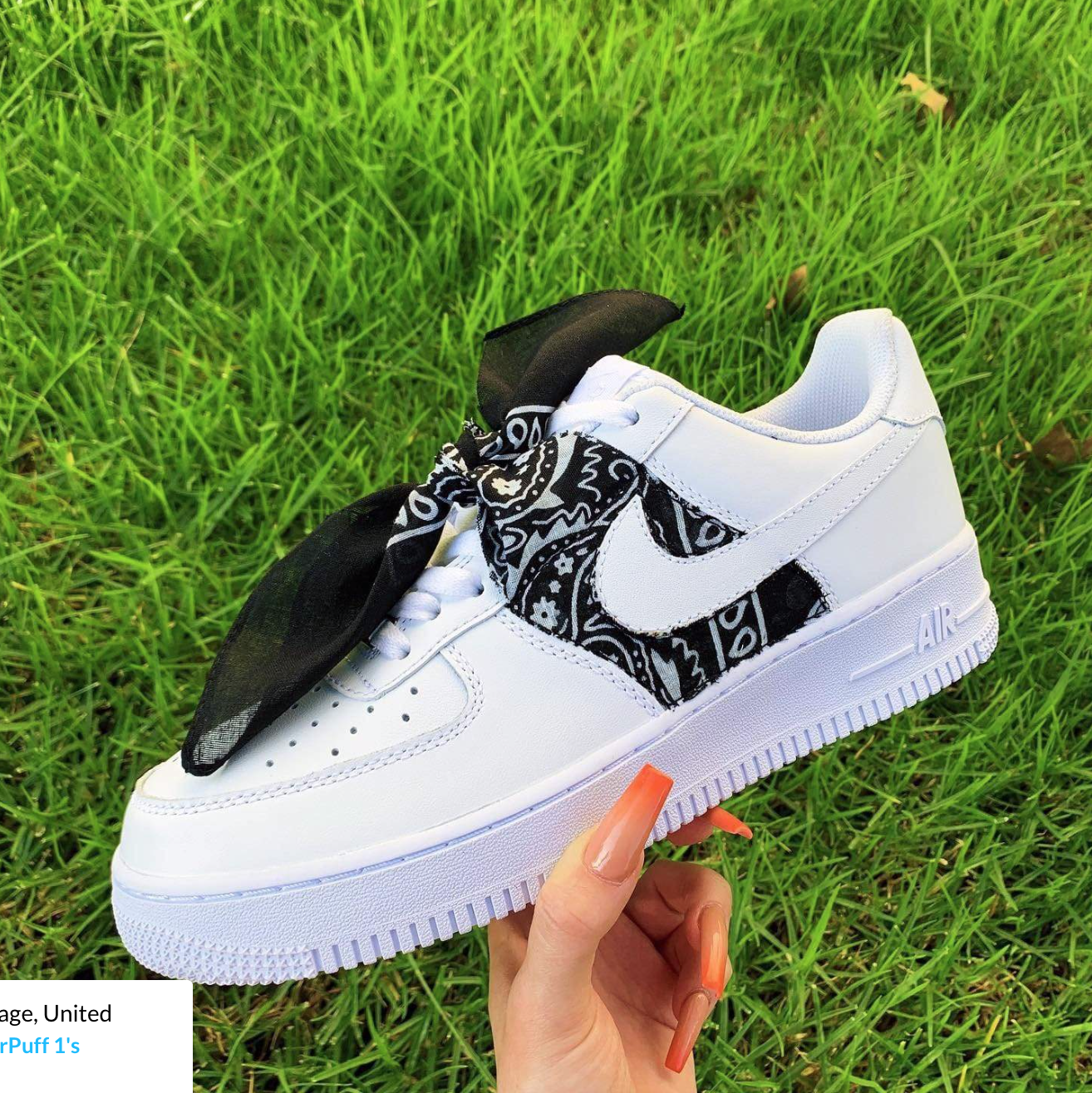 Black Bandana Af1 Nike Shoes Air Force Custom Nike Shoes Nike Air Shoes