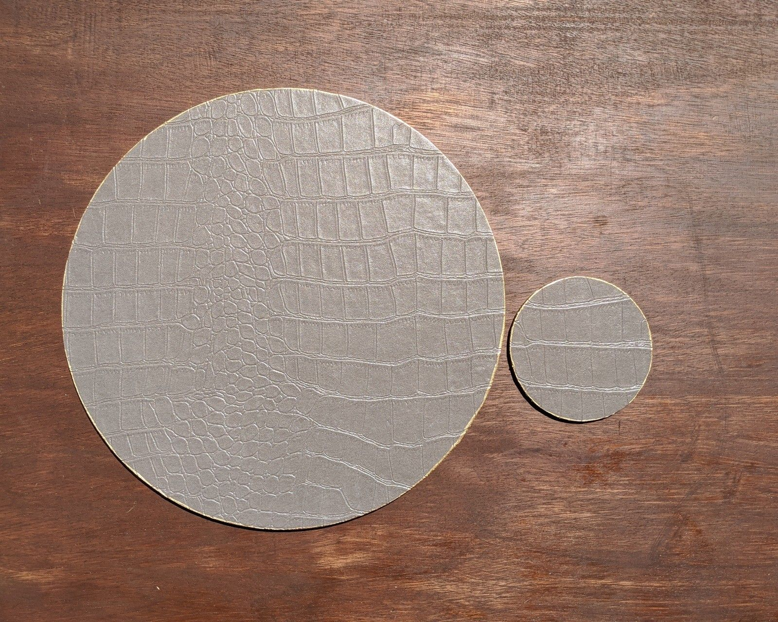 Luxury Taupe Mock Croc Grey Placemats Faux Leather Coasters Etsy Grey Placemats Leather Coasters Round Decor