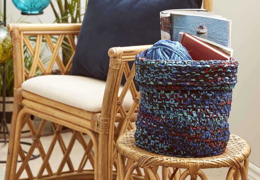 Boho Knit Basket In Bernat Downloadable Pdf Free Free Knitting