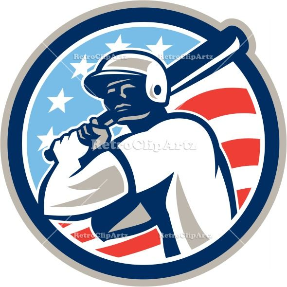 American Baseball Batter Hitter Circle Retro Vector Stock Illustration
