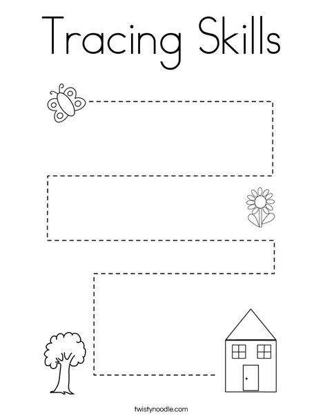 Tracing Skills Coloring Page - Twisty Noodle | Tracing ...