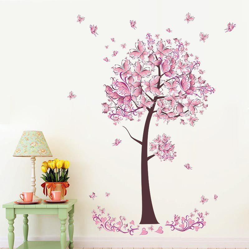 Universe Of Goods Buy Butterfly Pink Flower Tree Wall Stickers Pvc Wallpaper Home Living Room Diy Bedroom Decor For Girls Kid Room Decor Wall Decor Stickers