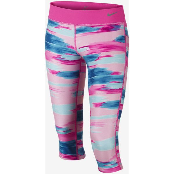Nike Legend Allover Print Tight Fit Girls' Training Capris ❤ liked on  Polyvore featuring sport
