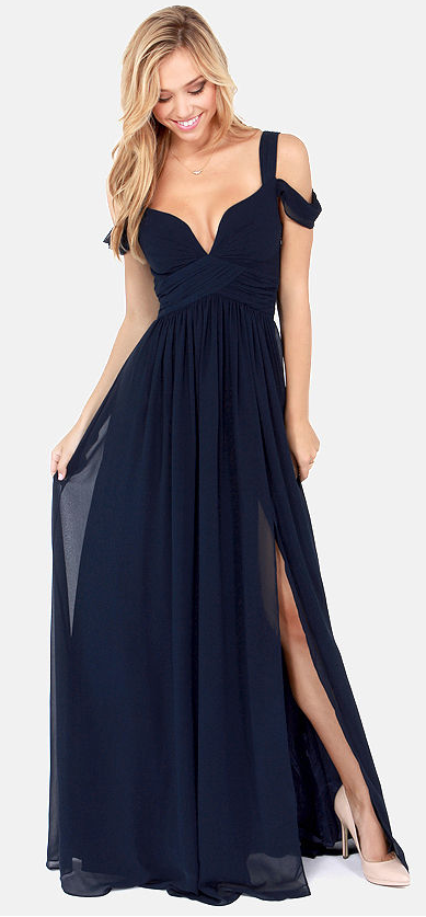 c515e36c9e35 Ocean of Elegance Navy Blue Maxi Dress