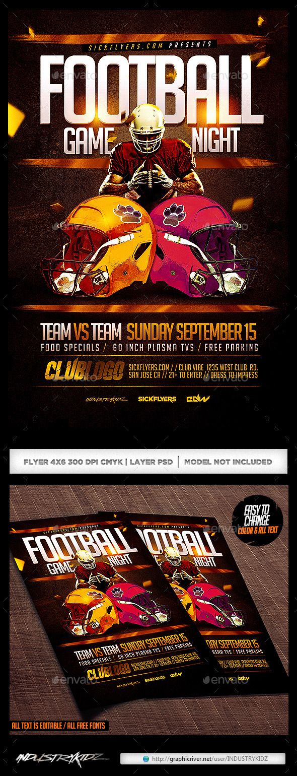 Football Game Night Flyer Template Game night, Flyer