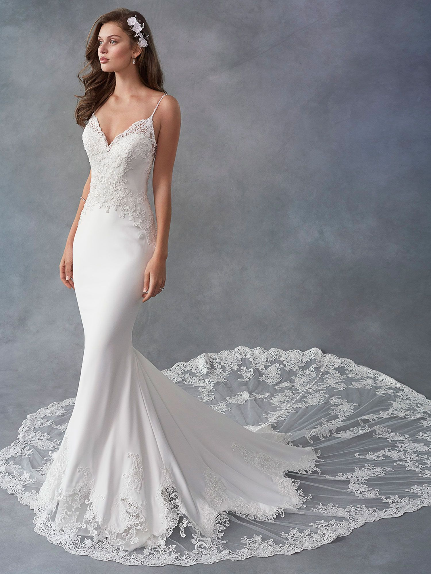 Kenneth Winston Style 1797 Mermaid V Neck Dropped Waist Cathedral Train M Satin Mermaid Wedding Dress Kenneth Winston Wedding Dresses Wedding Dresses [ 2000 x 1500 Pixel ]
