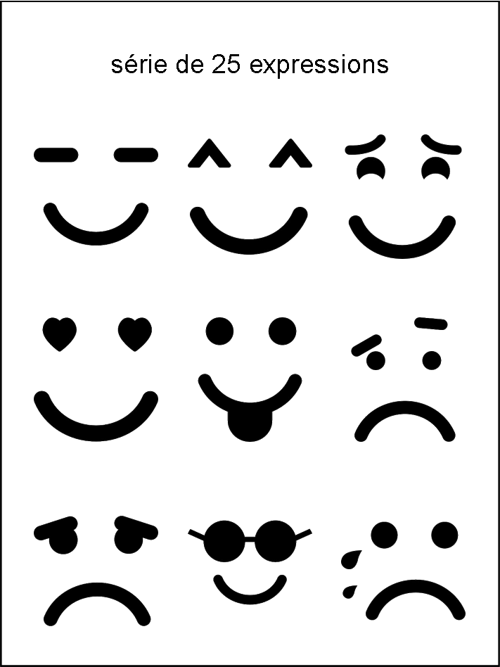 Av collection d 39 expressions noir et blanc smiley - Smiley noir et blanc ...