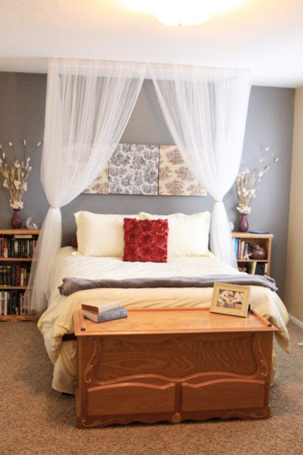 Diy Curtain Headboard With Lights Curtain Canopy Home Bedroom