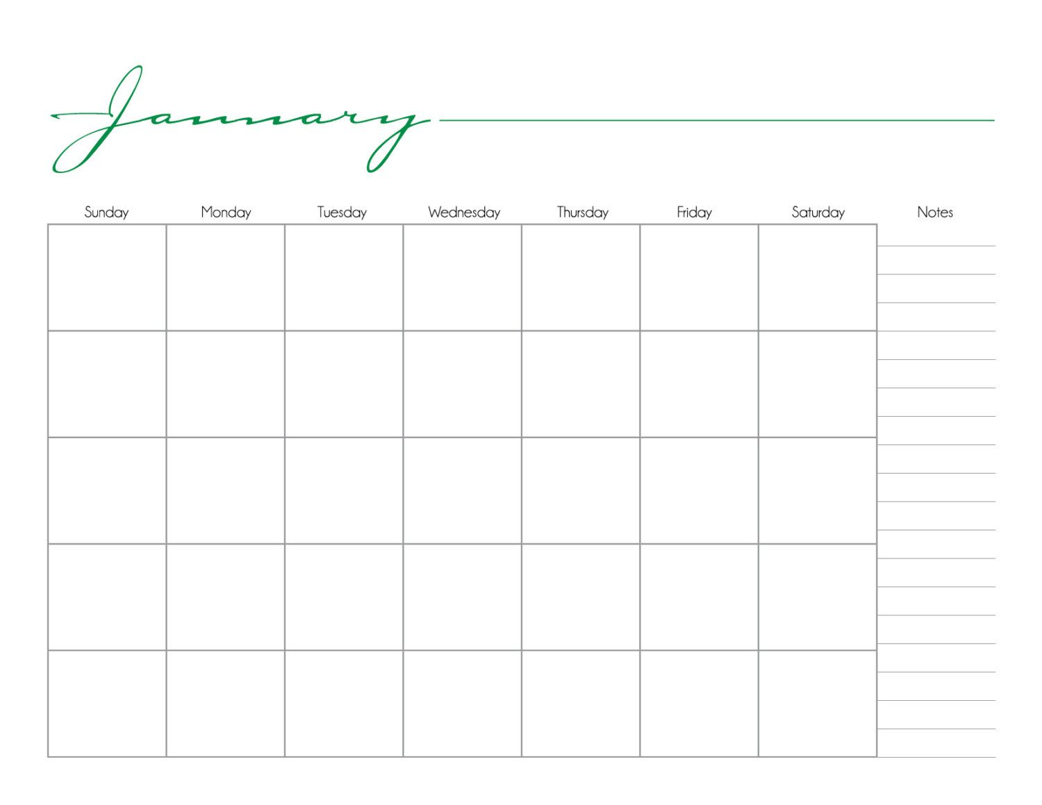 Whimsical Printable Monthly Calendar No Date  By Dontpanicdesign