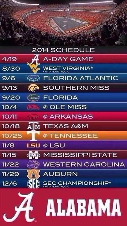 Sec Football Schedule Roll Tide Pinterest Roll Tide Alabama